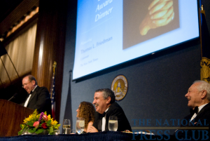 Jerry Tarde, editor in chief of Golf Digest, roasts and toasts Thomas Friedman at the 2009 Fourth Estate Award Dinner. (L-R: Jerry Tarde, Donna Leinwand, Thomas Friedman, Bob Schieffer)Photo: Noel...