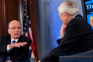 "Rupert Murdoch and Marvin Kalb chat ""off mic'"" before the Kalb Report at the National Press Club. The Chairman and CEO of News Corp. discussed the impact of online news..."