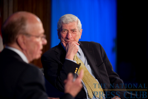 Marvin Kalb listens to News Corp. Chairman and CEO Rupert Murdoch at the National Press Club for the Kalb Report, Apr. 6, 2010.Photo: Sam Hurd