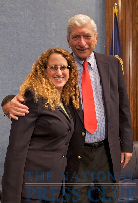 NPC President Donna Leinwand with panel moderator Marvin Kalb.Photo: Michael Foley