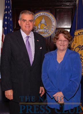 Treasury Secretary Ray LaHood and Former NPC President Sylvia Smith at the National Press Club Luncheon, May 21, 2009.Photo: Greg Tinius/Tinius-Arts