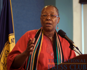 Bertha Lewis, Chief Executive Officer and organizer of ACORN, the Association of Community Organizations for Reform, speaks at a Newsmaker event at the National Press Club on October 6th.Photo: Gregory...
