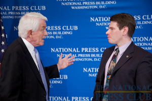 Thomas J. Donohue, President and CEO US Chamber of Commerce, and speaker at the NPC Luncheon, talks with NPC Speakers Committee chairman Andrew C. Schneider, Associate editor, Kiplinger Washington Editors...