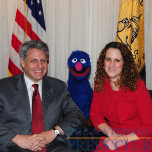 Gary Knell, President and CEO of Sesame Workshop, Grover and NPC President Donna Leinwand.Photo: Al Teich