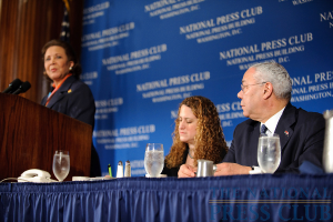 NPC President Donna Leinwand (middle) and Colin Powell look on as Alma Powell speaks at an April 1 luncheon.Photo: Sam Hurd