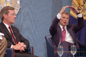 Former Sen. Daschle, right, makes key point.Photo: Terry Hill