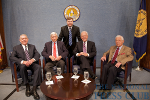 Marc Wojno (standing) with (L to R); Dan Rather, Marvin Kalb, Bob Schieffer and Daniel Schorr.Photo: Michael Foley