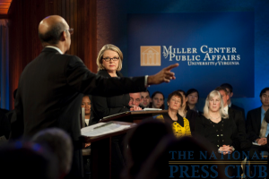 Michael L. Lomax (left) makes a point as Margaret Spellings looks on at a Miller Center Debate event held Feb. 26, 2010 at the National Press Club.Photo: Stephanie Gross