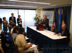Antonio Guterres, United Nations High Commissioner for Refugees, addresses the press at a June 16 Newsmaker, with NPC member Peter Hickman (right).Photo: Gregory Tinius