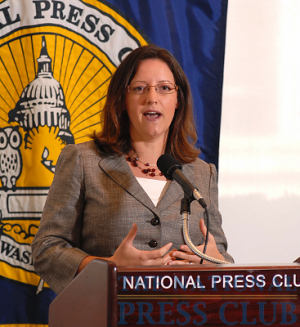 Janet F. Kavinoky, Director of Transportation Infrastructure, U.S. Chamber of Commerce, addresses The Freight Stakeholders Coalition Newsmaker about the pending highway bill reauthorization at a National Press Club press conference...