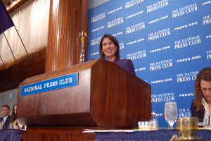 National Transportation Safety Board Chairman Deborah Hersman engages National Press Club luncheon audience with a little humor.Photo: Terry Hill