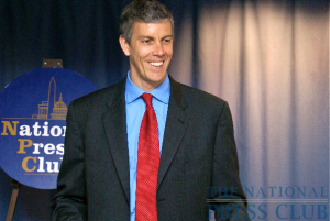 Education Secretary Arne Duncan handled questions from broadcast, print and online journalists in Friday's newsmaker at the NPC, then took questions from students of Delaware Valley Elementary School (Milford, Pennsylvania)...