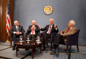 L to R: Dan Rather, Marvin Kalb, Bob Schieffer and Daniel Schorr.Photo: Michael Foley
