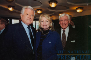 Senator Kennedy with former NPC President Warren Rogers and his daughter Patricia, January 16, 2002.Photo: Marshall CohenDate: January 16, 2002