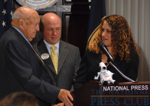 NPC President Donna Leinwand of USAToday poses questions from the audience to Chick-fil-A Inc. Founder/Chairman Truett Cathy (left) and Chick-fil-A President/CEO Dan Cathy (center) at a National Press Club Speakers...