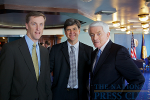 Attendees at the pre luncheon reception (l to r): J.William Ichord, Vice President, International; Government Affairs, Conoco Phillips, William C. Lane, Washington Director, Carterpillar Inc., and Thomas J. Donohue, President...