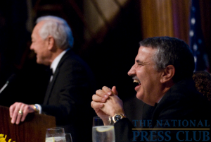 "Bob Schieffer of CBS's ""Face the Nation"" pokes fun at his friend Thomas Friedman during the 2009 Fourth Estate Awards Dinner.Photo: Noel St. John"