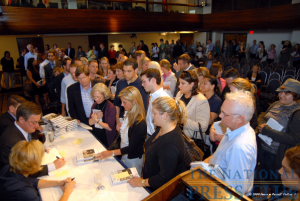 A crowd waits to get their copies of The Last Best Hope: Restoring Conservatism and America's Promise signed by MSNBC's Joe Scarborough at a June 18 NPC book event.Photo: PerfecT...
