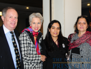 Participants in the Afghan Women's Rights Discussion at the National Press Club. Left to right: Myron Belkind, chairman, International Correspondents Committee; Jan DuPlain, organizer of the event; Malalai Joya, speaker;...