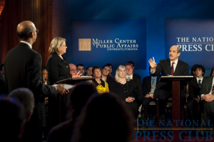 From L to R: Michael L. Lomax, Margaret Spellings and moderator Paul Solman at a Miller Center Debate event held Feb. 26, 2010 at the National Press Club.Photo: Stephanie Gross