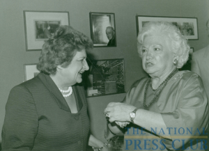 NPC luncheon Speaker Liz Carpenter (right) chatting with Helen Thomas in 1987.Photo: Art Garrison