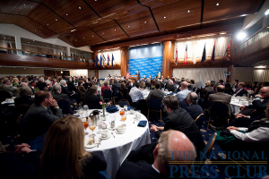 Mitt Romney, former Governor of Massachusetts, addresses a luncheon crowd at The National Press Club.Photo: Sam Hurd