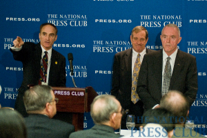 From left to right, NPC Newsmakers Committee Chairman, Bob Weiner; Vietnam Veterans Memorial Fund President Jan Scruggs; and Four-Star General Barry McCaffrey (USA, Ret). Gen. McCaffrey and Mr. Scruggs answer...