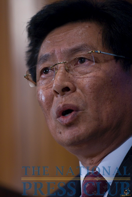 Captain Jiafu Wei, the CEO of China's national shipping carrier and one of the most influential businessman in China, addresses the National Press Club at a luncheon on Oct. 26,...