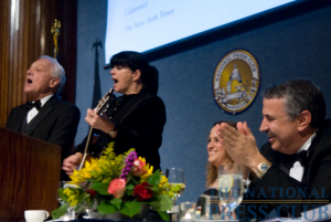 Thomas Friedman enjoys a musical tribute to himself and his latest book, Hot Flat and Crowded performed by Bob Scheiffer.Photo: Noel St. John