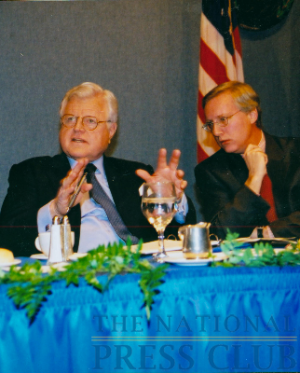 Senator Kennedy with NPC member Bill McCarren, at a January 21, 2003 NPC Luncheon.Photo: Art GarrisonDate: January 21, 2003