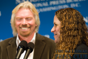 Sir Richard Branson, President of Virgin Atlantic, answers questions from NPC President Donna Leinwand at a National Press Club Speakers Breakfast on May 14.Photo: Noel St. John