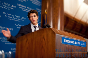 Teen pop sensation Nick Jonas (of The Jonas Brothers) addresses a National Press Club Luncheon Event August 24 on the topic of juvenile diabetes.Photo: Sam Hurd