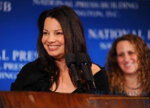 Actress Fran Drescher addresses an April 14 Press Club luncheon.Photo: Gregory Tinius/Tinius-Arts