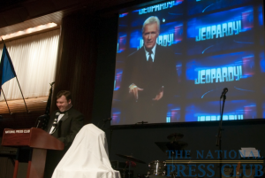NPC board member Marc Wojno emcees the President's Inaugural Gala at the National Press Club, Jan. 30, 2010. Jeopardy's Alex Trebek sent a videotaped greeting and congratulatory message to the...