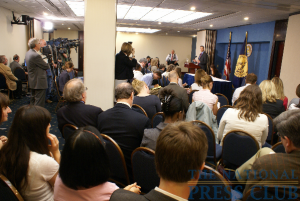 Print, radio, television and online journalists filled the NPC conference rooms at Friday's newsmaker featuring Arne Duncan, the US Secretary of Education.Photo: Kyle McKinnon