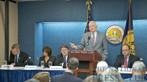 Emmet Bondurant, trial lawyer and currently representing two Guantanamo detainees, gives the opening presentation. Seated (L to R): Bob Edgar, President and CEO, Common Cause, Elisa Massimino, CEO of Human...