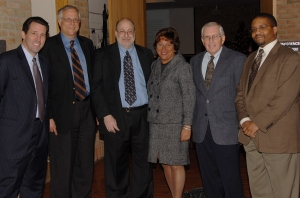 (L to R): Vincent Duffy, news director of Michigan Public Radio; Gil Klein, Centennial Project Director; Jonathan Wolman, editor and publisher of the Detroit News; Marla Drutz, vice president and...