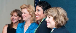 Girl Scouts chief executive officer Anna Maria Chávez (second from right) is pictured with (l to r) Debra Silimeo, Speakers Committee member who organized the luncheon; NPC President Theresa Werner; and Lidia Soto-Harmon, CEO of the Girl Scout Council of the Nation's Capital.