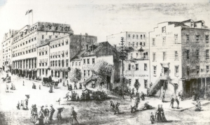 "This illustration from an 1873 Harper's Magazine shows ""the Row"" along 14th Street with the Ebbitt House, at the corner with F Street, on the left side and the Western Union office, at the corner with E Street, on the right."