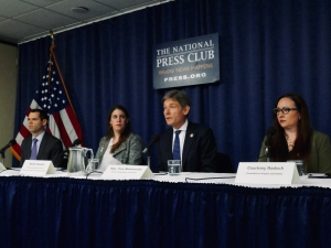 Rep. Tom Malinowski addresses the National Press Club in a discussion with panelists Rob Malinowski (far left), Rachel Oswald, and Courtney Radsch (far right). The NPC Journalism Institute sponsored the Feb. 11 discussion on the growing use of human rights sanctions to protect journalists.