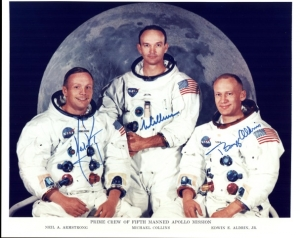 Michael Collins (center) with fellow astronauts Neil Armstrong (left) and Buzz Aldrin in photo marking their moon-landing mission 50 years ago.