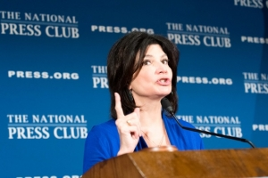 Lily Eskelsen Garcia, president of the National Education Association, speaks at a National Press Club Headliners Luncheon on Sept. 8, 2017