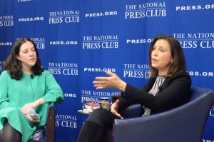 Joanne Lipman (right) at a National Press Club Headliner's Book Event on March 1 speaks about her book on gender bias. With her is Club President Andrea Edney.
