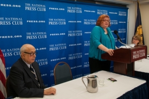 Lisa M. Maatz from the American Association of University Women speaks on campus sexual violence statistics at a NPC Newsmaker press conference, January 14, 2016. She was joined by colleague Anne Hedgepeth (right) and moderator Tony Gallo of the Newsmakers Committee.