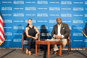 American Ballet Theater Principal Dancer Misty Copeland with National Press Club President Jeff Ballou at the club on April 17