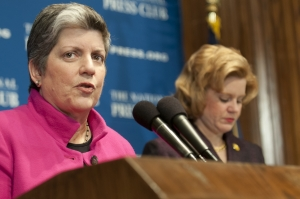 DHS Secretary Janet Napolitano speaks at a National Press Club Luncheon, January 30, 2011.  The luncheon event was moderated by newly inaugurated 2012 NPC President Theresa Werner.