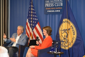 Rick Allen and Kathleen Kennedy Townsend, eldest daughter of Robert Kennedy, discuss their book, 'RFK: His Words for Our Times,' at National Press Club Book Event April 10.