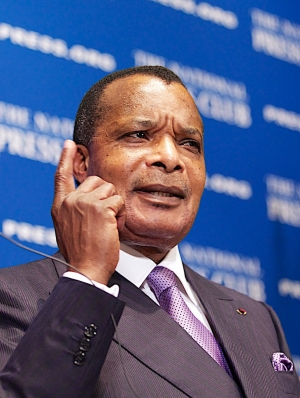 President Denis Sassou Nguesso of the Republic of the Congo  speaks at NPC Luncheon