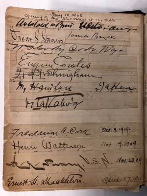Signatures from the Club's earliest guest book include Frederick A. Cook, Commander Robert E. Peary and Ernest H. Shackleton.