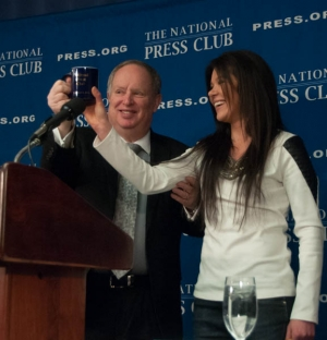 Ukrainian singer-activist and protest leader Ruslana Lyzhychko accepts the traditional coffee mug from Club President Myron Belkind f March 5.